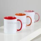 لیوان سرامیکی دسته و داخل رنگی 330 با چاپ و جعبه